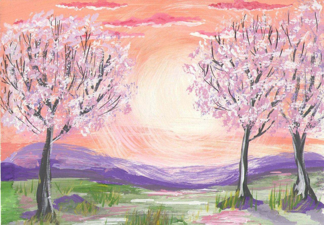 Весенний пейзаж рисунки красивые